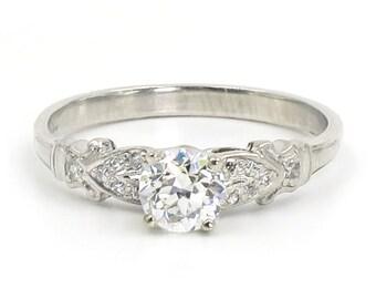 Platinum Edwardian 0.57 Carat Old European Cut Diamond Engagement Ring