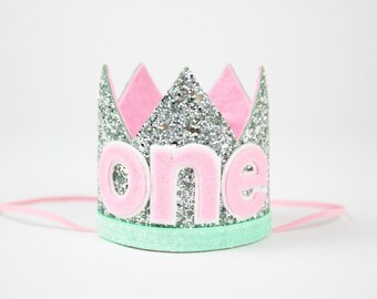 ONE Birthday Party Crown Headband | First Birthday Glitter Hat | 1st Birthday Hat | Silver + Mint + Pink ONE