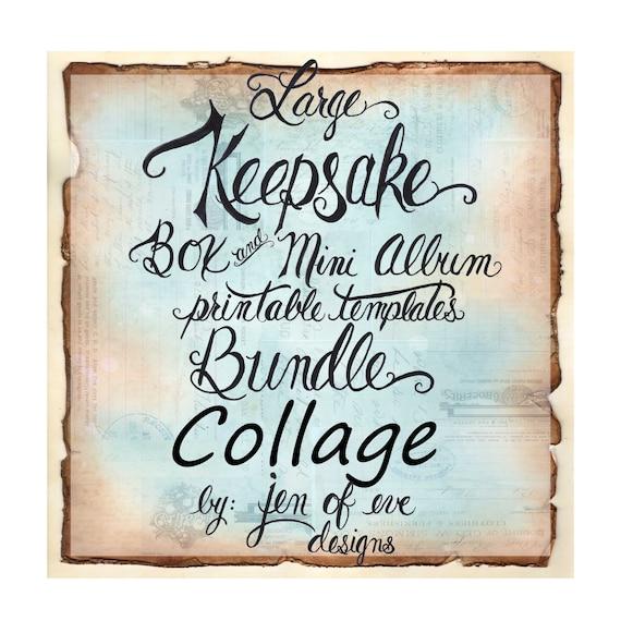 LARGE Keepsake Box & Mini Album Printable Template in Collage and Plain