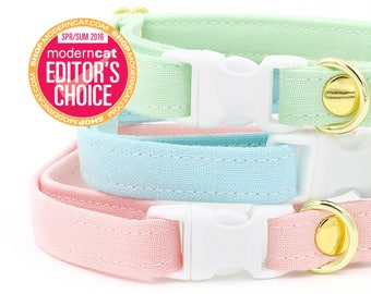 Cat Collar - Pink, Baby Blue, Mint Green - Breakaway - Kitten Available
