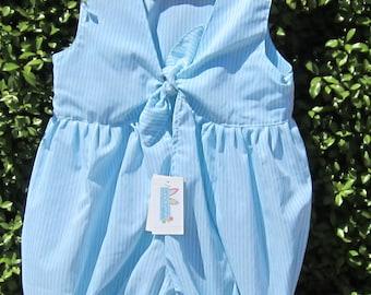 Size 2 Girls Blue Stripe puffy Romper Playsuit tie back