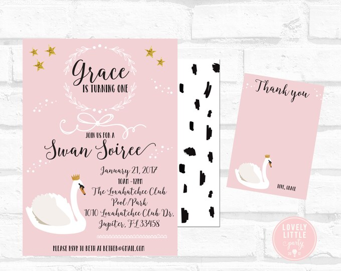 Featured listing image: Swan Soiree Birthday Invitation Kit - Invite AND Thank You Card included