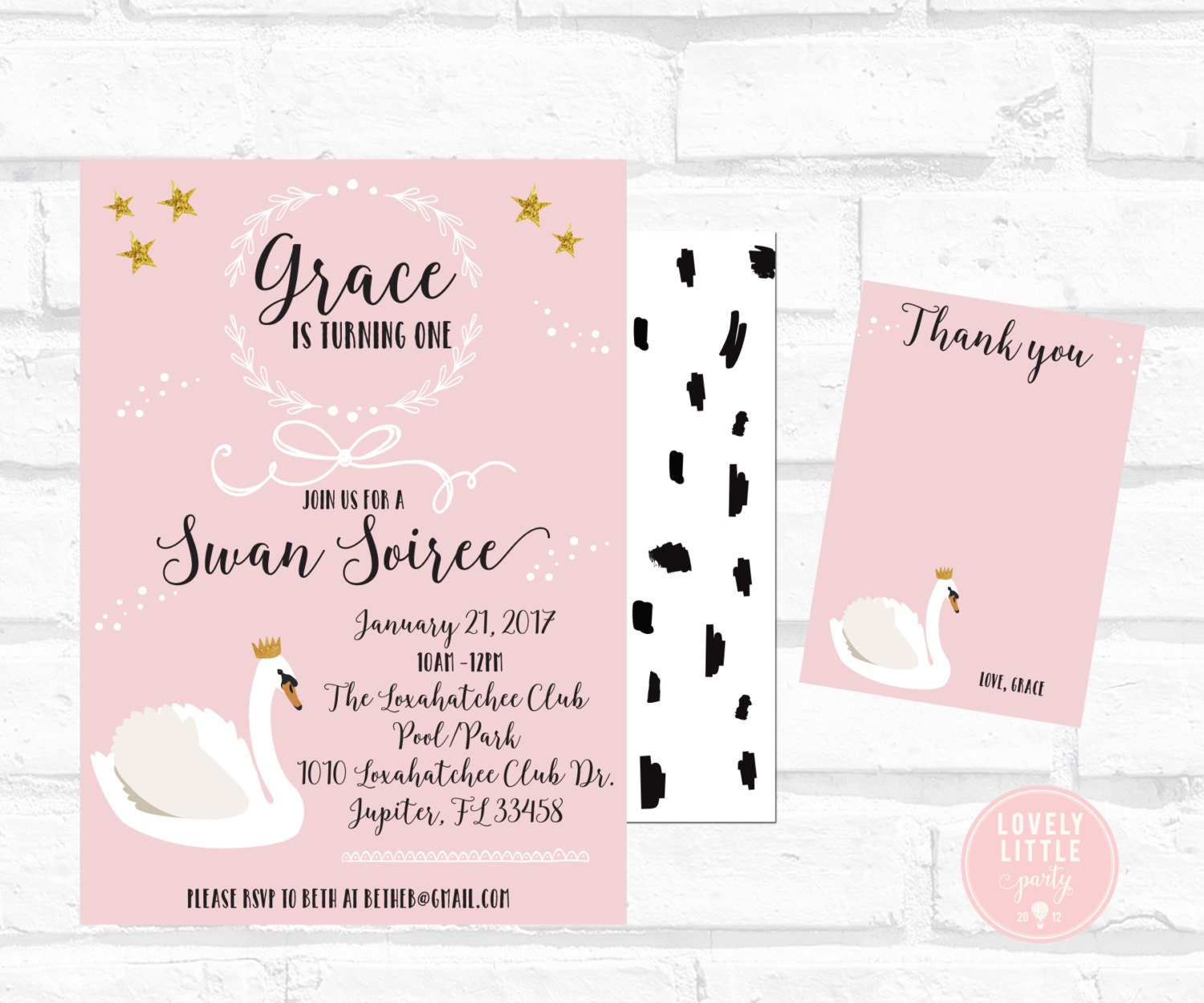 Swan Soiree Birthday Invitation Kit Invite AND Thank You Card included