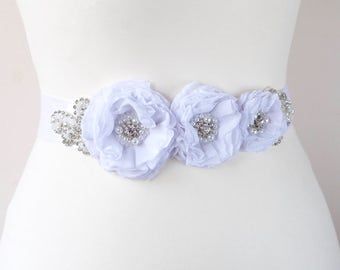 Bridal sash belt floral sash, White Satin Flowers Pearls Beaded Lace Wedding Dress Sashes Belts