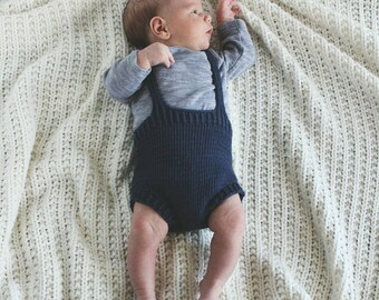 Handknit suspender shorts, bloomers, gender neutral, vintage style romper