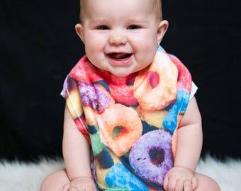 Froot Loop bib | Cute infant bib | Baby shower gift | Newborn baby gift | funky baby bib | Custom | Baby, Infant, Toddler | Bibs | Drool bib