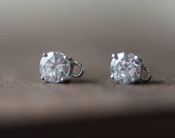 Sterling Silver Rhinestone Ear Posts, 925 Silver Earring Stud with Ring and Ear Nuts/ Backs, 1 Pair=2pcs (#S016-5)