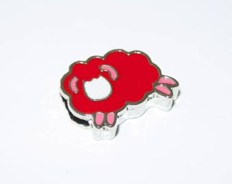 Red sheep bead for leather bracelet