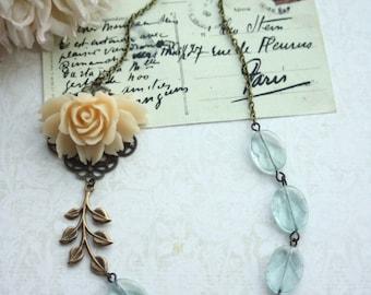 Wedding Necklace. Ivory Cream Rose, Aqua Quartz Vintage Rustic Inspired Necklace, Aqua Blue Wedding. Something Blue. Bridesmaids Gifts.