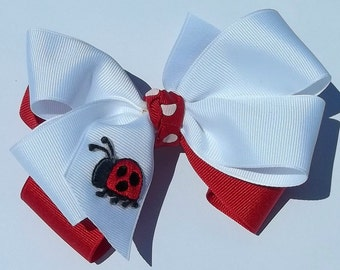 LITTLE LAYERED LADYBUG hair bow