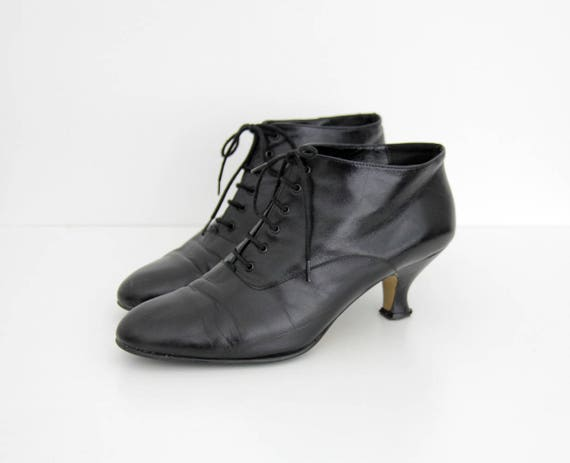 Heel Ankle 1990s Leather 1980s Black Boots Vintage Boots Tw4YqX