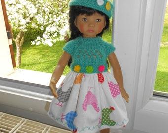 "Doll clothes Little darlings Dianna Effner, 33cm 14 ""- dress""hens""bimaterial + Hat"
