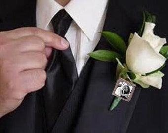 Square Photo Boutonniere Pin Groom Father of the Bride Groomsmen Wedding