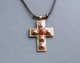 Cross pendant, copper cross pendant, handmade necklace, long necklace, cross jewelry, copper jewelry, metalwork, metal cross jewelry