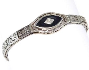 Art Deco 10k Filigree Onyx And Diamond Bracelet