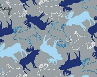 Stags in Grey Cotton Jersey