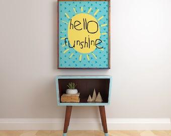 Printable Nursery Decor Art Print African Print Instant Download Wall Art blue Hello Funshine Typography Posters  prints kids wall shelf