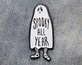 "Goth Ghost Brooch ""Spooky All Year"" Enamel Pin with Funny Quote - Black and White Cute Enamel Pins Horror Alternative Fashion"