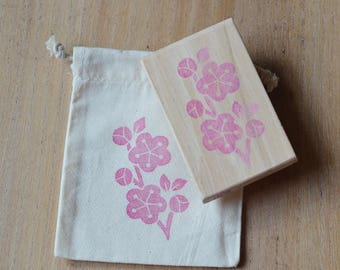 Branch cherry, hand carved rubber stamp
