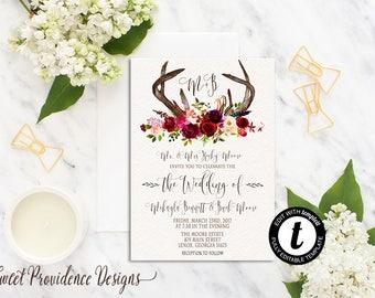 Boho Rustic Wedding Invitation, Rustic Wedding Invitation, Maroon Wedding Invitation, Feather, Wedding Invite, EDITABLE Instant Download