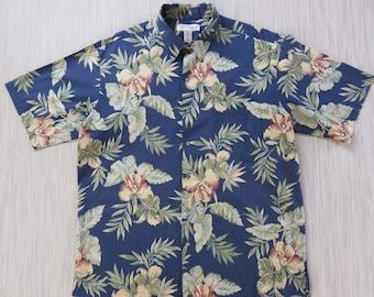 Hawaiian Shirt Men TORI RICHARD Surfer Aloha Shirt Bearded Orchid Print Exotic Tropical Rain Forest 100% Cotton - L - Oahu Lew's Shirt Shack