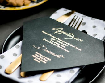 Handwritten Diamond shaped Menu card in Gold and Silver. Menu Card for Weddings or events in gold and silver on Black paper, Menu card