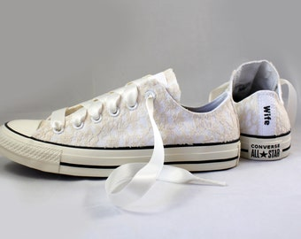Champagne Lace Bridal Converses  -- Wife Lace Converse -- Wedding Tennis shoes  - Wedding Converse