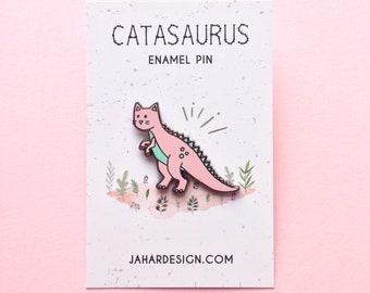 Catasaurs hard enamel pin, cat pin, enamel badge, lapel pin, dinosaur gift, enamel jewellery, dinosaur enamel, cat present, pin collectors
