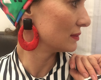 Vintage on Red Earring