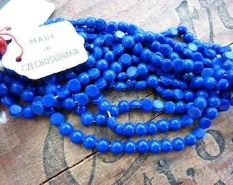 Glass Nailhead Beads Royal Navy Blue 5mm Vintage (50 beads)