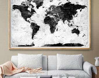 Black and White Push Pin World Map Prints - Watercolor World Map Wall art - Travel map push pin Gift for her or gift for boyfriend - (L122)
