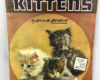 Vintage 1987 How to Draw Cats & Kittens by Leslie B. Demille Large Paperback Book Cute Drawings Foster Art Service