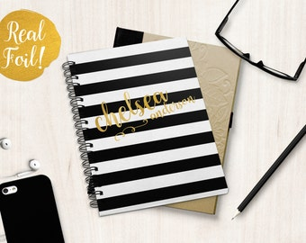 Real Gold Foil Personalized Spiral Notebook/Journal