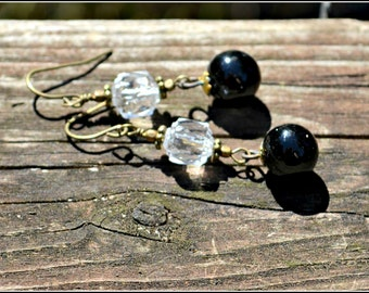 Crystal and Black Earrings vintage black porcelain charms and crystal clear Czech glass bead earrings