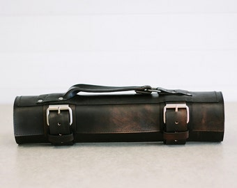 """Black Custom Leather Knife Roll // """"chefs roll"""" by fullgive in vintage fg-black"""