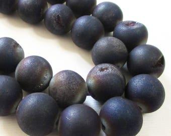 "Druzy Round Ball Beads - Dark Purple Blue Druzy Agate Beads - Smooth Drilled With Coating Matte - 12mm -16"" Strand - Diy Unisex Jewelry"