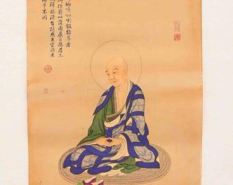N4609 Hand Painted Tibetan Buddhism Kraft Thangka - Arhat