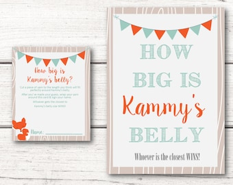 Printable Personalized Baby Shower Belly Card Game & Matching Sign - Woodland Fox Orange Mint Gender Neutral - DESIGN 064