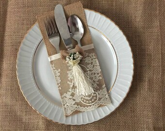 10 burlap and ivory lace silverware holders