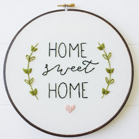 Home Sweet Home Embroidery Pattern, PDF Pattern, Housewarming, Hand ...