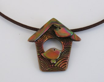 Copper Bird House Necklace, Bird Jewelry, Birdhouse Jewelry, Copper Jewelry, Black Leather Cord Necklace, Bird Lover, Heat Patina Coppe
