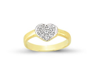 9CT Gold Baby Ring C/Z Hearts Childs Kids Cubic Zirconia Signet Solid Band Gift Box