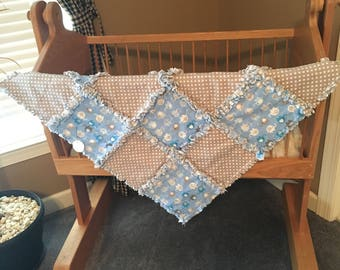 Rag Quilt Blanket / Flannel Quilt / 3 Layers / Baby Blue and Grey or Gray with Elephants