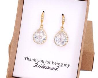 Lelanie - Luxe Cubic Zirconia Teardrop Silver Earrings, gifts for her, Bridal Bridesmaids earrings, white silver weddings, jewelry e48