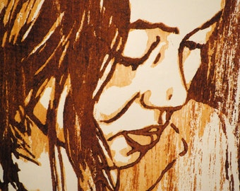 "Elinor, hand carved woodblock print, 7""x10.5"", artist proof"