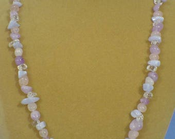 "Lovely 26"" Pastel Pink colored stones necklace - N515"