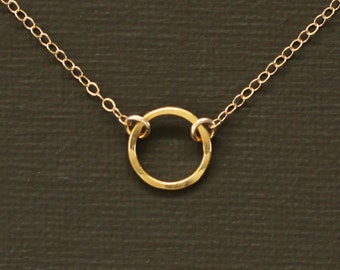 Gold Filled Circle Necklace Hand Hammered