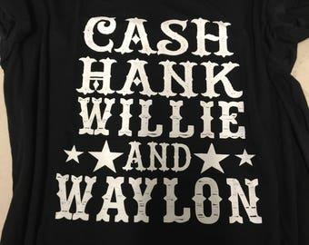 Cash, Hank, Willie & Waylon vintage tshirt.
