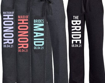 Fleece Boyfriend Sweatpant {with Date} for the Bridal Party, Bride Pant, Bridesmaid Pant, Bridesmaid Sweatpant