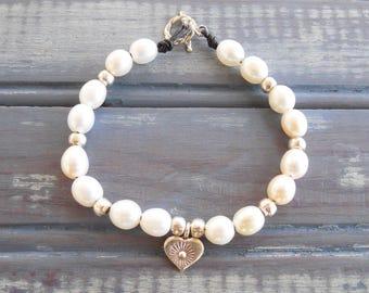 Freshwater Pearl Sterling Silver Bracelet - Heart Charm - Girlfriend Gift - One of a Kind - Gift for Her - June Birthstone - Pearl Bracelet